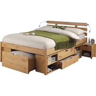 Storage double bed frame pine for Storage beds uk