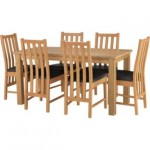 Oak Dining Table with 6 Chairs - Slatted